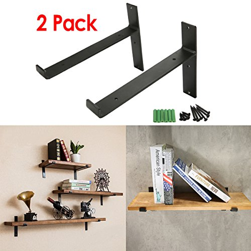 KINGSO 2 Pack - 8''L x 6''H Handcrafted Forged Black Iron Shelf Brackets, Industrial Decorative Wall Lip Brackets, Metal Floating Shelf, with Screw Accessories (T-shape(with lip)) (Decorative Brackets)