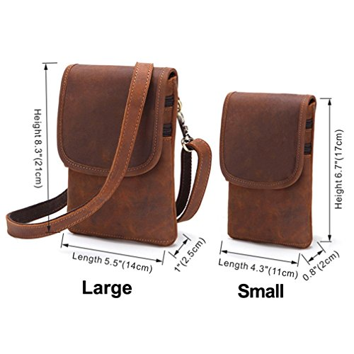 FANGDA Genuine Leather Brown Fanny Small Messenger Shoulder Satchel Waist Bag Pack for Men (Small) by FANGDA (Image #5)