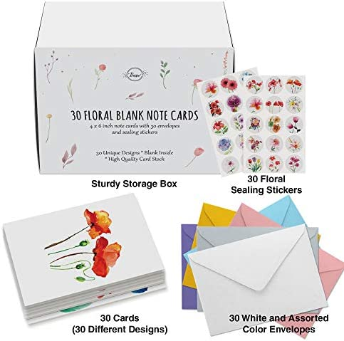 Dessie 30 Floral Watercolor Blank Cards with Envelopes - 30 Different 4x6 Inch Blank Greeting Cards w/Assorted Color Envelopes & Matching Seals. Note Cards with Envelopes Set for All Occasions.