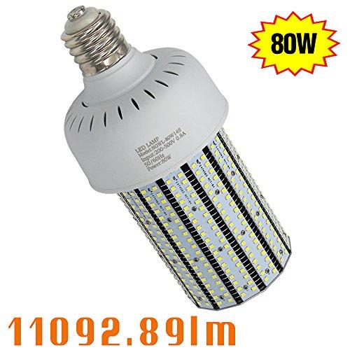 250w Mercury Vapor Bulb (NGTlight 480V 80W LED Corn Light Bulb 347V 250W Mercury Vapor Equivalent Parking Lot Gas Station Light Retrofit 6000K Bright White Corn Lamp AC200-500V)