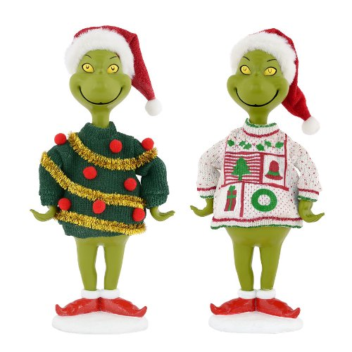 Grinch Ugly Sweater Figurine Set