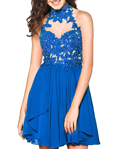 Halter Open BHS060 Women's BessWedding Gowns Short Blue Evening Homecoming Dresses Lace Back RgfwCq