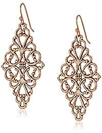 1928 Jewelry Filigree Diamond-Shape Drop Earrings