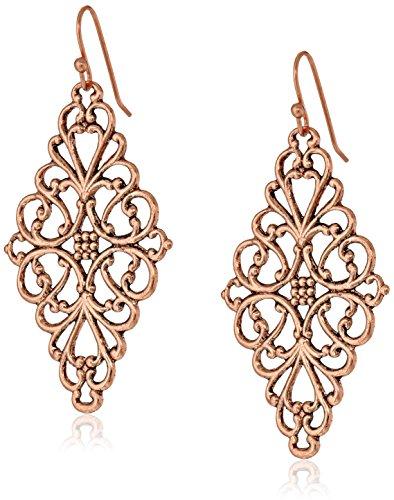 1928 Jewelry Rose Gold-Tone Filigree Diamond Drop Earrings