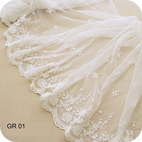 IRIZ 45*90cm 花柄刺繍メッシュレース ドレスリムファブリックリボン チュールレーストリム RG01