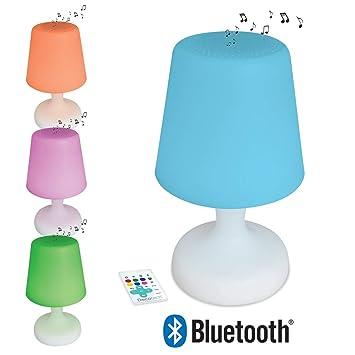 Decotech - Lámpara Led inalámbrica con altavoz Bluetooth, cambio de color, uso exterior posible (IP44), batería recargable, mando a distancia incuido ...