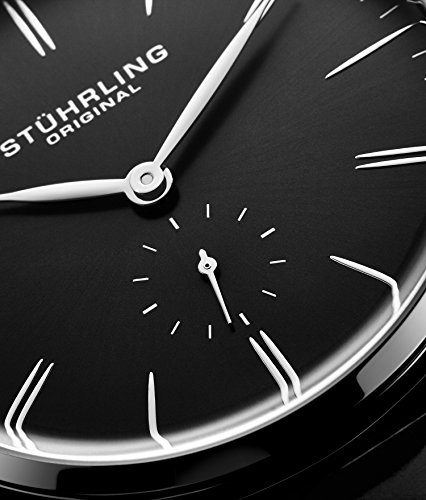 Stuhrling Original Mens Dress Watch, Leather Strap, Vintage Pie-Pan Dial with Seconds Sub-Dial, Stainless Steel Analog Japanese Quartz Watch, 849 Series (Black) by Stuhrling Original (Image #4)