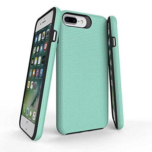 Protege tu iPhone, Para iPhone 8 Plus y 7 Plus PC + TPU Botón de presión plateado cromado Funda protectora antirresbaladiza de la contraportada Para el teléfono celular de Iphone. ( Color : Magenta ) Verde
