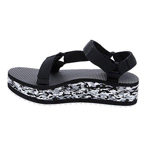 Teva Flatform Marbled W Sandalen schwarz weiß