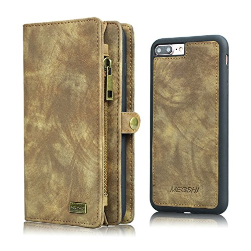 iPhone 6 PLUS/6s PLUS Wallet Case, MEGSHI Flip Case With Card Slots, Cash Slip, Detachable TPU Slim Phone Case, 5.5 Inch For iPhone 6 PLUS/6s PLUS, ()