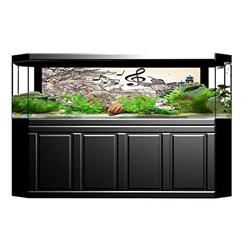 (JiahongPan 3D Aquarium Background Flourishes and Birds Butter Rose Blossoms Leaves Nostalgia Ivory Brown Fish Tank Wall Decorations Sticker L35.4 x H19.6)