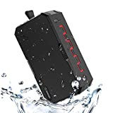 Soundance IP65 waterproof Portable Power bank Bluetooth Shower Speaker, up2 12 Hours Playtime & 25m BT Range, for indoor outdoor beach & poolside, compatible with iphone & android (F5, Black&Red)