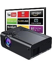 Proyector Portátil Wifi para Celular, E T EASYTAO Mini Proyector de Video 6000 Lúmenes Proyector de Video Soporta Full HD 1080P, Built-in Daul Speaker Compatible con TV Stick HDMI VGA USB TF AV para Cine en Casa y Películas al Aire Libre.
