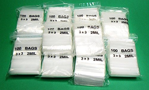 3 x 3 ZIPLOCK RECLOSABLE ZIP LOCK CLEAR PLASTIC ZIP SEAL 2MIL POLY BAGS 1000 PCS (LZ 2.2 FRE) from PackagingSuppliesByMail