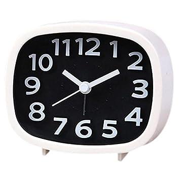 CUHAWUDBA Despertador sin tictac, Reloj de cabecera con bateria Silencioso Simple a configurar Relojes de Viaje con luz Nocturna (Blanco): Amazon.es: Hogar