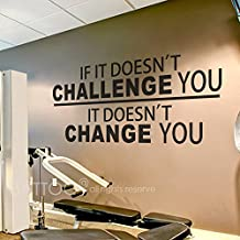 """BATTOO Fitness Wall Decal up to 4.5 ft - If It Doesn't Challenge You. It Doesn't Change You.- Classroom Wall decor- Inspirational Quote Wall Decal Sticker(Black, 42""""WX19.5""""H)"""