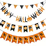 Coxeer Happy Halloween Banner, 4pc Halloween Party Banner Pumpkin Banner for Home,School and Party Decorations