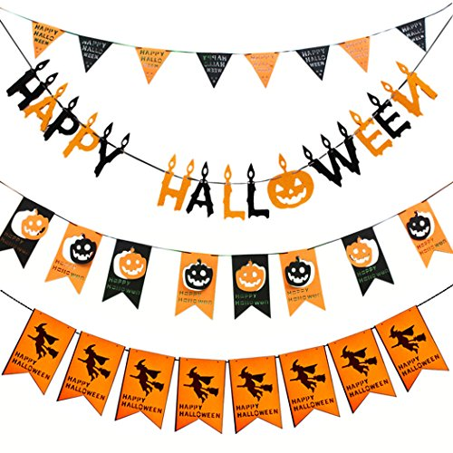 Coxeer Happy Halloween Banner, 4pcs Halloween Party Banner Pumpkin Banner for Home,School and Party Decorations ()