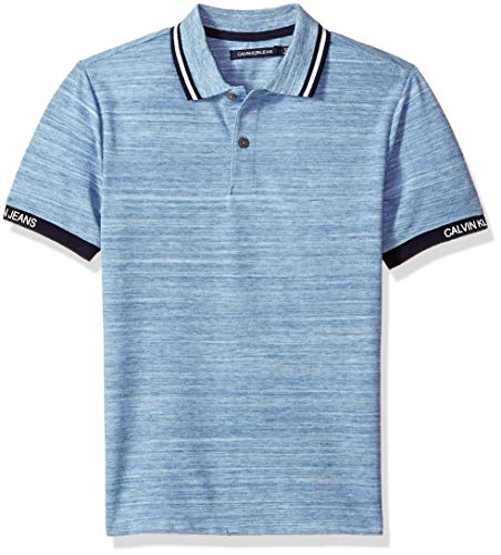 Polo Pique Dye - Calvin Klein Boys' Big Marled Space dye Logo Sleeve Polo, Light Blue Heather, Medium (10/12)