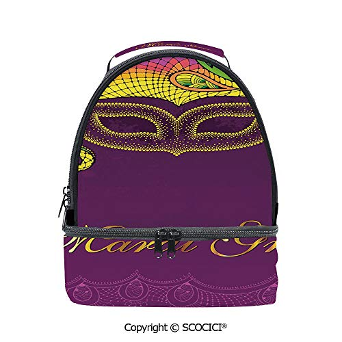 SCOCICI Large Capacity Durable Material Lunch Box Colorful Lace Style Corner Ornaments Calligraphy and Dotted Mask Design Decorative Multipurpose Adjustable Lunch Bag ()