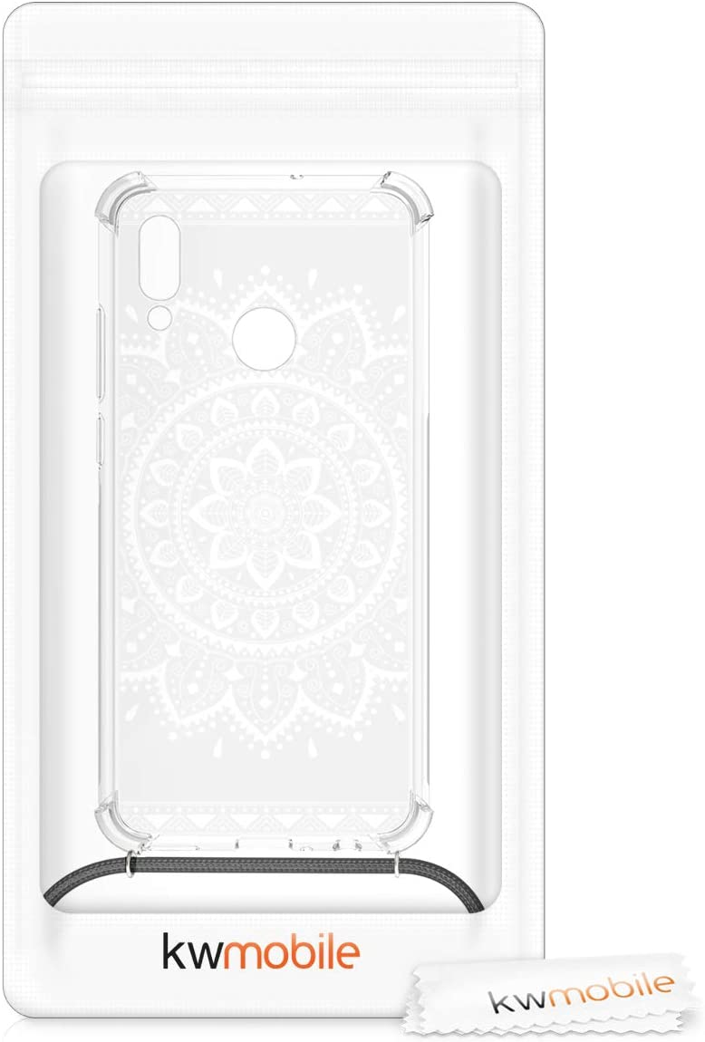 kwmobile Crossbody Case Compatible with Huawei P Smart 2019 Aztec Sunflower White//Transparent - Clear TPU Cell Phone Mobile Cover Holder with Neck Cord Lanyard Strap
