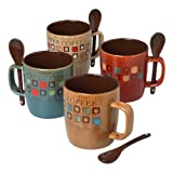 Mr. Coffee Café Americano 8pc Mug Set (4 Mugs & 4 Spoons) 14oz