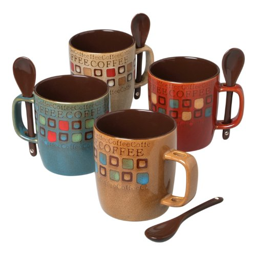 Mr. Coffee 90592.08RM Café Americano 8Piece 14 Ounce Mug Set with Spoons, Assorted Styles/Color