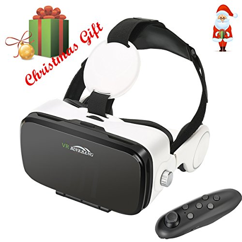 "3D VR Glasses, YESSHOW 3D Virtual Reality Headset Box for Mobile Phone VR Games and 3D Movie with Remote Control Compatible with iPhone 7/7 Plus/6S/ 6 Samsung S8/S7 and Other 4.0""-6.0"" Smartphones"