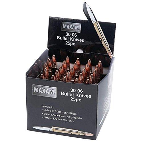 B&F SKBULLET 25 Piece Maxam Gold-Tone Bullet Knives In Countertop Display
