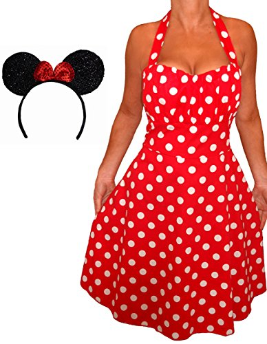 Halloween Polka Dot Costume Dress (Funfash Plus Size Halloween Costume Red White Polka Dot Dress Minnie Mouse Ears 2x 22)