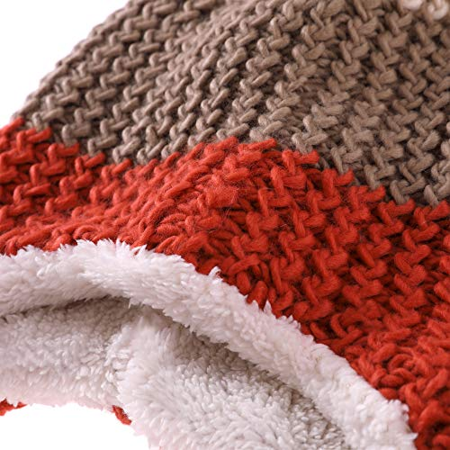 824df2cf2a2 YEBING Womens Girls Super Thick Warm Soft Cable Earflap Beanie Hat Fleece  Lined with Pom Pom