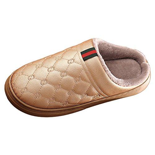 Gold Inner Plüsch Slipper mit Damen PU Anti 1 Skid Herren Warm halten Schuhe Wasserdichte Eastlion f7qwgOU