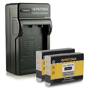 Bundle - 4en1 Cargador + 2x Batería NP-95 NP95 para Fuji Fujifilm FinePix F30 | F-30 | F31 | F-31 | F31fd | F-31fd | X100 | X100s | X-S1 | FinePix Real 3D W1 mucho más… [ Li-ion; 1600mah; 3.7V ]