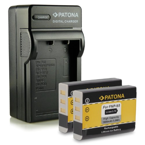 PATONA NP-95 NP95 Battery Charger for Fuji Fujifilm FinePix F30 | F-30 | F31 | F-31 | F31fd | F-31fd | X100 | X100s | X-S1 | FinePix Real 3D W1 and much more 4in1 Charger + 2x Battery