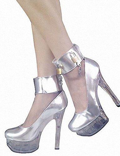 Homme Eu36 Plateau chaussures Silver mariage A Evénement Cn36 cuir Arrondi Uk4 Bout Argent Ggx Talons À noir Décontracté us6 talons amp; talon Aiguille Soirée 1dwx47Z