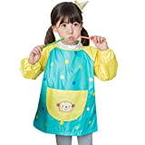 Hosim Children's Art Smock Long Sleeve Waterproof Painting Apron, Kids Lovely Monkey Artist Smocks Play Apron with Large Pocket, Ideal for Painting/Kitchen/Baking (L, Green)