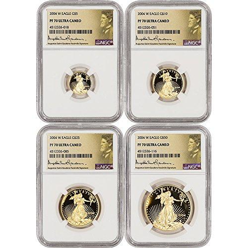 2004 W American Gold Eagle 4-pc Proof Set Saint Gaudens Label PF70