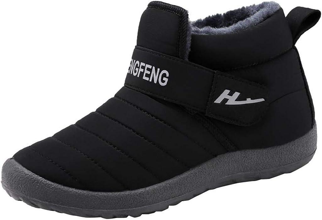 Botines Nieve Unisex Durable Tela de Algodón Botas de Otoño Invierno Caliente Al Aire Libre Flat para Caminar Zapatos Calzado Ligero Fannyfuny