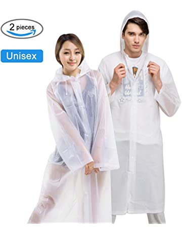 a09d442c1a AOBETAK Rain Poncho Adult Portable, Reusable Clear Raincoat with Hoods and  Sleeves,EVA Material