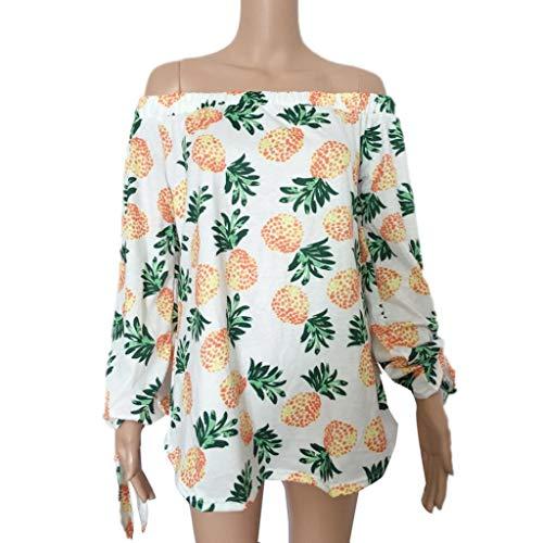JiaMeng Camisas Mujer, Blusas para Mujer Camisa de Manga Larga de la Moda de Tops Sexy Camisa de Impresišn de la pi?a: Amazon.es: Ropa y accesorios