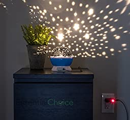 [New & Improved] Essential Choice - Constellation Projector Baby Night Light USB Wall Adapter & 8FT Cord Included – 4 Bright Colours with 360 Degree Moon Star Projection and Rotation