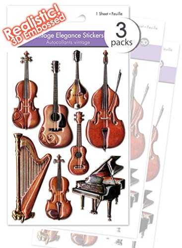 3 Pk Realistic Musical Instruments Stickers Vintage Antique Puffy Musical Instrument Stickers Premium Music Scrapbook Stickers 3D Dimensional Music Craft Stickers Rustic Embellishments - Bulk