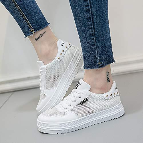 Zapatos Blancos de seven Zapatos Estudiantes de Malla Thirty señora de Zapatos Tamaño de Zapatos WFCAYDHN de Malla Tablero 1q00YB