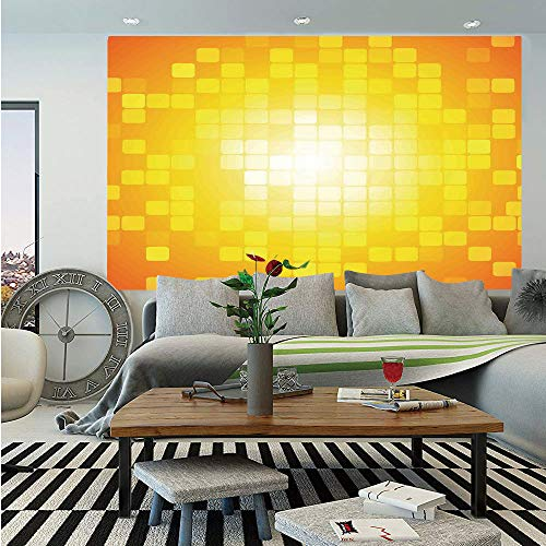 Contemporary Retro Palette - Yellow Huge Photo Wall Mural,Mosaic Retro Square Shapes and Patterns Pixels Rays Chic Contemporary Graphic Design,Self-Adhesive Large Wallpaper for Home Decor 100x144 inches,Orange Yellow