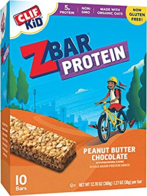 CLIF KID ZBAR - Protein Snack Bar - Peanut Butter Chocolate (1.27 Ounce Bar, 10 Count)