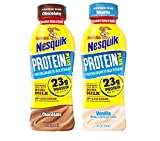 Nestle Nesquik Protein Plus Milk, 2 Flavor Variety Pack, 14 oz Plastic Bottles (Pack of 12)