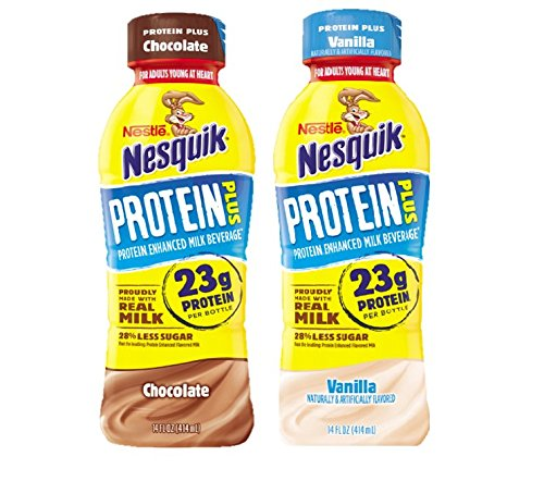 Nestle Nesquik Protein Plus Milk, 2 Flavor Variety Pack, 14 oz Plastic Bottles (Pack of 12) by Nesquik (Image #3)