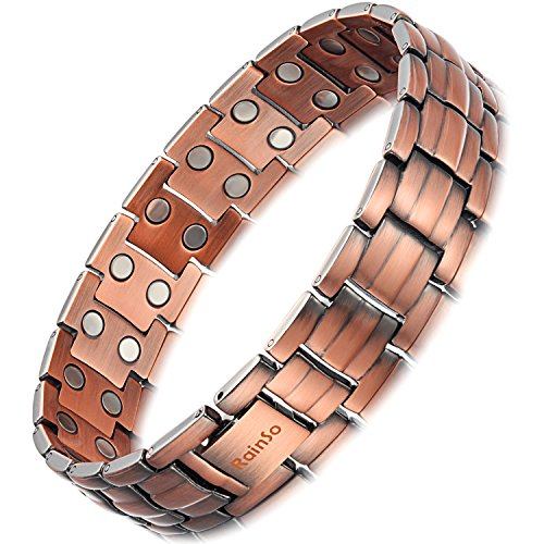 Rainso Mens Copper Double Row Magnetic Therapy Bracelets for Arthritis Wristband Adjustable (Double Row Magnetic Style 2)