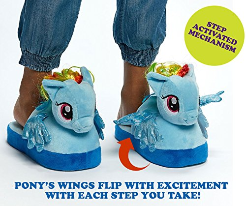 Stompeez Animated My Little Pony Plush Slippers - Ultra Soft and Fuzzy Rainbow Dash Character - Wings Flap as You Walk - Small by Stompeez (Image #1)