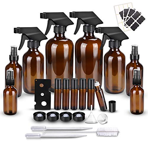 Glass Spray Bottle Kits, BonyTek Empty 6 10 ml Roller Bottles, 8 Amber Essential Oil Bottle(16oz,8oz,4oz,2oz) with Labels for Aromatherapy Cleaning Products